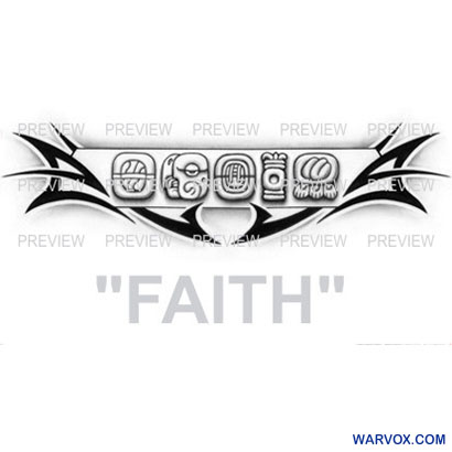 FAITH Mayan Glyphs Tattoo Design A