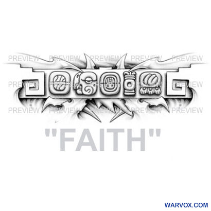 FAITH Mayan Glyphs Tattoo Design B