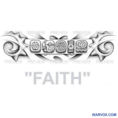 FAITH Mayan Glyphs Tattoo Design D