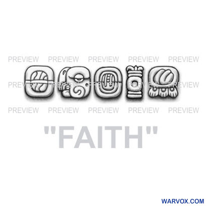 FAITH Mayan Glyphs Tattoo Design G