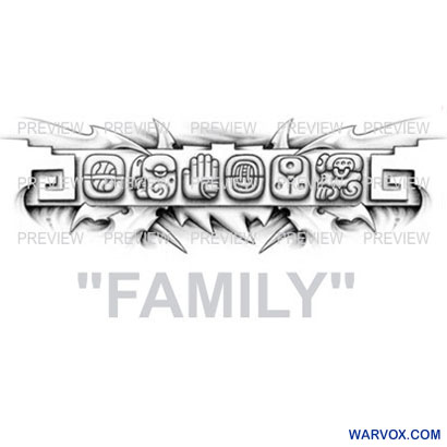 FAMILY Mayan Glyphs Tattoo Design B