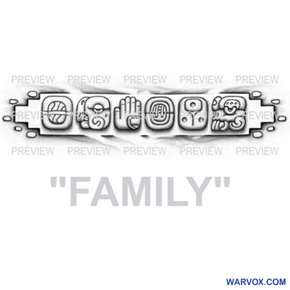 FAMILY Mayan Glyphs Tattoo Design C