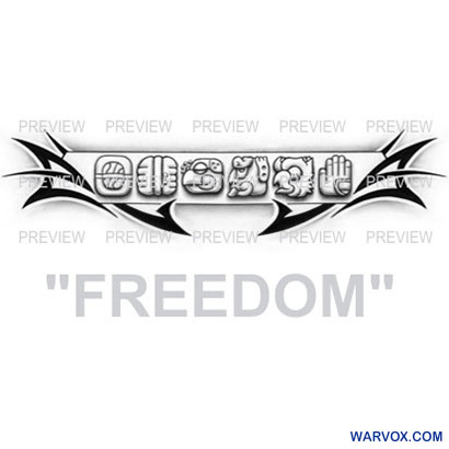 FREEDOM Mayan Glyphs Tattoo Design A