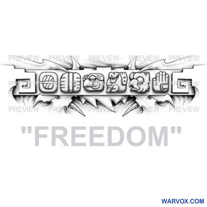 FREEDOM Mayan Glyphs Tattoo Design B
