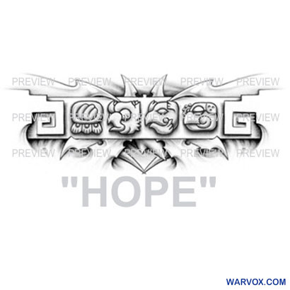 HOPE Mayan Glyphs Tattoo Design B