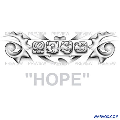 HOPE Mayan Glyphs Tattoo Design D