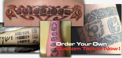 custom mayan glyphs tattoo design