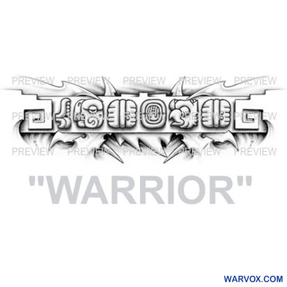 WARRIOR Mayan Glyphs Tattoo Design B