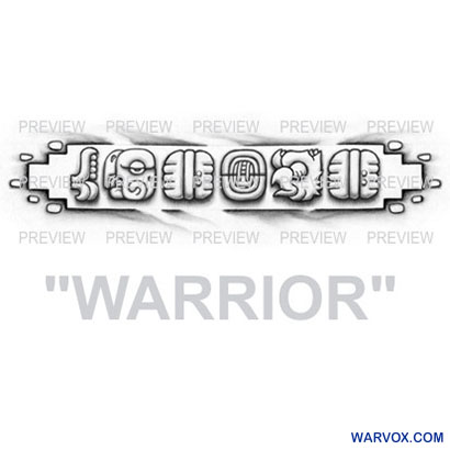 WARRIOR Mayan Glyphs Tattoo Design C